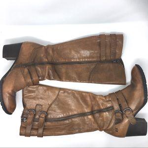 born Milari tall leather heeled boots brown sz 9.5